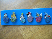 Set Of 6 Disney Lanyard Pins, A Circle With 2013 And A Character On Top.