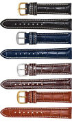 Men's Long Alligator Grain Leather Heavy Padded Creme Stitching Watch Strap Band