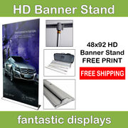 48 Pro Line Retractable Banner Stand With Print Included For Trade Show Booths