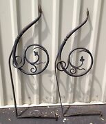 Pair 2 Large Antique Hand Forged Wrought Iron Archetctual Spanish Revival