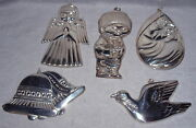 Mib 1975-1979 Gorham Bookout Lewis Collection Sterling Christmas Ornament Set 5