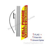 Cellphone Flashing And Unlocking Feather Banner Swooper Flag Kit With Pole+spike