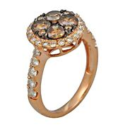 2.21ct Prong Invisible Set White And Dark Brown Diamond Ring In 14k Rose Gold