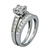 1ct Princess Round Cut Channel Invisible Set Bridal Wedding Ring 14k White Gold