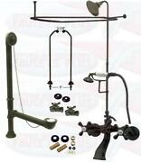 Oil Rubbed Bronze Clawfoot Tub Faucet Kit W/shower Riser, Enclosure , And Drain