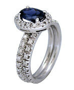 1.20ct Oval Sapphire With Diamonds Wedding Engagement Ring Set In 14k White Gold