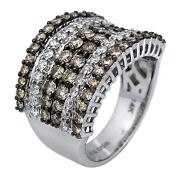 2ct Round Chocolate And White Diamond Cluster Cocktail Ring In 14k White Gold