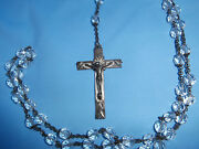 Vintage Estate Sterling And Glass Beads Rosary Set Antique Highly Detailed