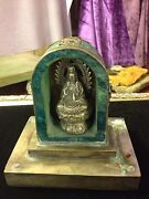 Antique/vintage Carved Jade And Sterling Silver Kuan Yin/quan Yin Altar-signed