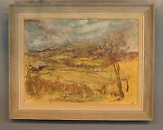 Signed Landscape Country Farm Palette Knife Textured Oil Painting 19x36