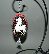 New Pysanky Russian Painted Artist Signed 4 Goose Egg Horse Ornament Christmas
