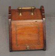 Antique Victorian Solid Mahogany Inlay Coal Scuttle With Brass Hardware 13x14