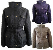 New Womens Ladies Plus Size Quilted Padded Button Zip Jacket Coat Size 16-26