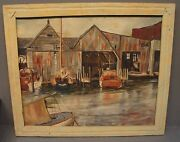 Signed R. Williams 56 Oil On Canvas Of A New England Harbor 23andrdquo X 27andrdquo X 1andrdquo
