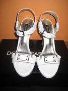 Dolce And Gabbana, Dandg, White Patent Leather Wedges, 39.5, 650