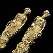 Antique English Sterling Pair Women Figural 3d Realistic Knife And Fork Art Silver