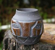 Tiki Face Hand Made Brown Pottery Art Vase Container Pot Signed