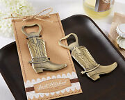 Just Hitched Cowboy Boot Bottle Opener Western Birthday Bridal Wedding Favor