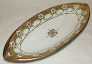Antique Nippon Royal Crockery Moriage Gold Jeweled Vanity Celery Victorian Tray