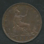 Great Britain 1870 1/2 Penny Bronze Km748.2 Choice Extra Fine