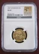 1997-w 5 Ngc Ms69 Jackie Robinson Mint State Gold Commemorative Coin Unc Bu