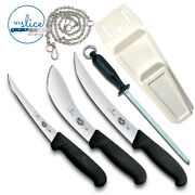 Victorinox 3 Piece Knife Set, 10 Steel, Flat Pouch And Stainless Chain. Butcher