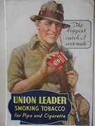 Authentic 30and039s Union Leader Tobacco 32 X 44 Store Size Advertising Poster
