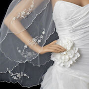 White Or Ivory Double Layer Floral Applique Fingertip Scalloped Edge Bridal Veil