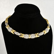 Contemporary 14k Solid 2-tone Gold Fancy Links Full-set Crystals Necklace 17 L