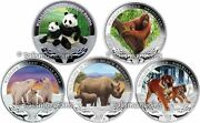 Tuvalu 2012 Wildlife In Need Complete 5 Coin Collection Set 1 Pure Silver Proof