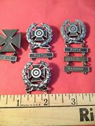 Four Military Shooting Medallions Sterling Silver