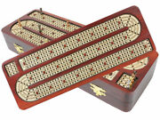 Luxurious Continuous Cribbage Board Bloodwood / Maple Inlaid 4 Track+ Brass Pegs