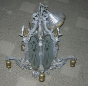 Art Deco Chandelier Eagle On Globe Egyptian Glyphs Style C. 1920and039s