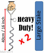 2 X Heavy Duty Auger Ground Anchor 400mm Ideal For Awning Tent Gazebo Marquee