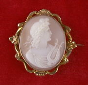 Orpheus With Lyre - Large Handcarved Carnelian Shell Cameo Brooch