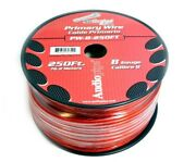 8 Ga Red Power Wire Primary Ground 250ft Copper Mix Cable Car Audio Amplifier