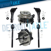 2 Front Wheel Hub Bearing Assembly W/ Abs Awd 4wd + 2 Inner And 2 Outer Tie Rod