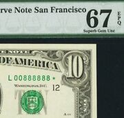 Amazing And Lucky Serial 888888 On An And03988 Star Note 1988-a 10