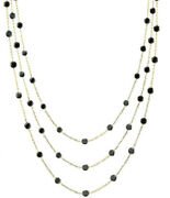 14k Yellow Gold Necklace By The Yard With Black Cubic Zirconia 64 Inches