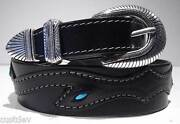 Santa Fe Leather Co Women's Western Turquoise Leather Belt 610t Tapered 1.5 - 1