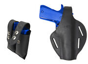 New Black Leather Pancake Gun Holster + Dbl Mag Pouch Taurus Full Size 9mm 40 45