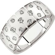 14 Kt White Gold And Gypsy Set White Diamond Thick Wide Matte Cigar Band Ring New