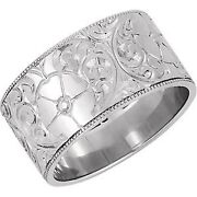 14 Kt White Gold Hand Engraved Floral Design Wide Cigar Band Ring New Size 8