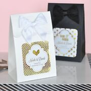Personalized Gold Or Silver Foil Wedding Anniversary Candy Treat Favor Box Bags
