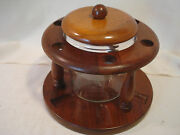 Vintage.....american....walnut.....pipe..rack..and.clear...glass..humidor..duk-it