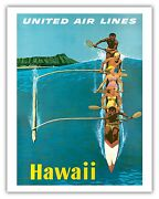 Hawaii Outrigger Canoe Stan Galli Vintage Airline Travel Poster Print Giclée
