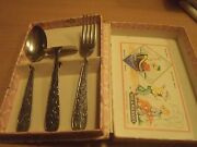 Extreme Rare Walt Disney Donald Duck Child Fork, Spoon And Knife Set From 1968