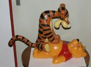 Extremely Rare Disney Winnie The Pooh Playing With Tigger Big Figurine Statue
