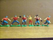 Lot Of Six 6, Plastic Baseball Players, Cake Decorations, Made In Hong Kong