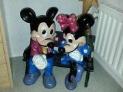 Extremely Rare Walt Disney Mickey And Minnie Mouse Cuddleling Old Big Statues